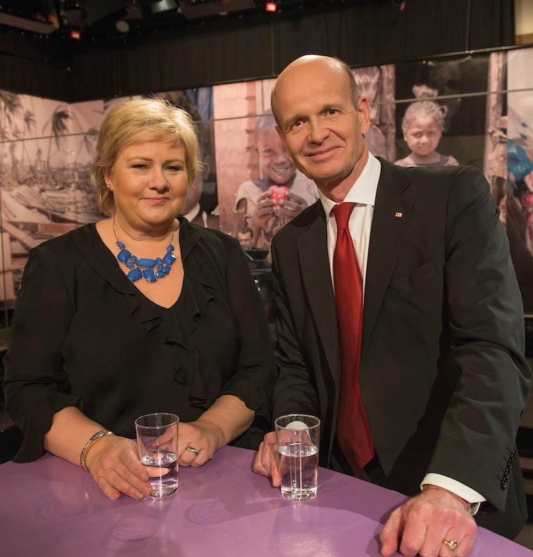Sven Mollekleiv med Erna Solberg
